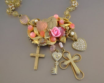 Pink Zone - Vintage Pink Heart Brooch, Crosses, Rhinestone Balls, Scarab Link Recycled Repurposed Assemblage Necklace