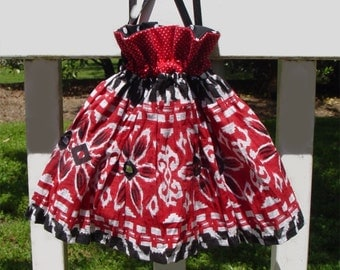 Purse hand bag wristlet drawstring red black hot tamale reticule style updated