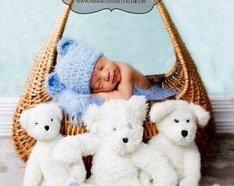 fuzzy bear hat, blue bear beanie, crochet baby hat, baby boy, baby girl, infant beanie, newborn hat, newborn clothes, knitted hat, animal