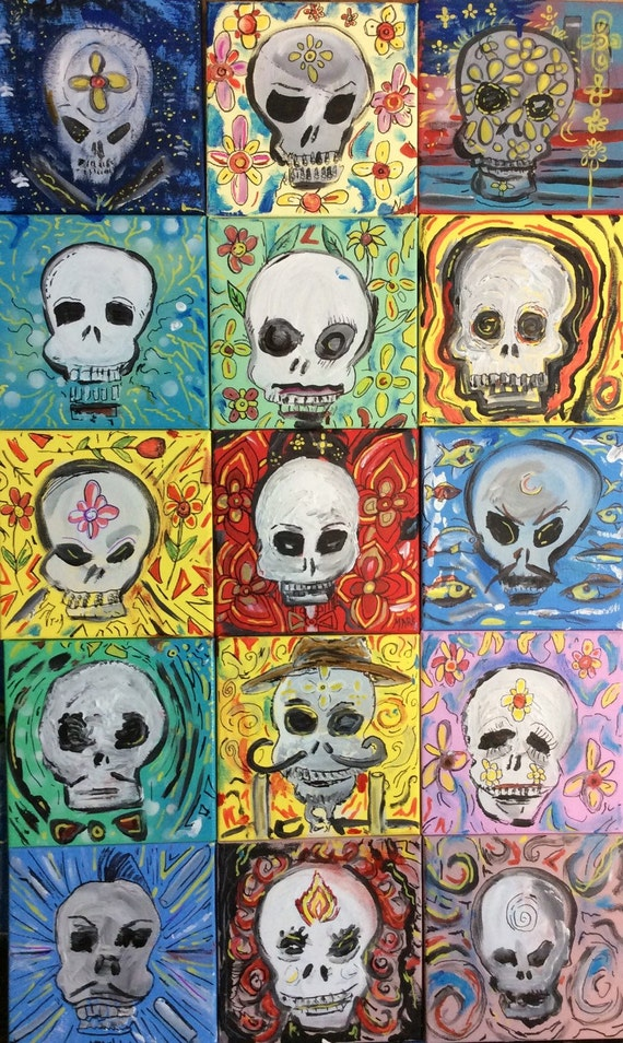 Sugar skulls  16x10' mounted ready to hang print with black trim