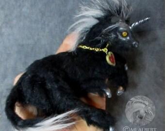 OOAK Pose-able Black Unicorn Sculpture Art Doll