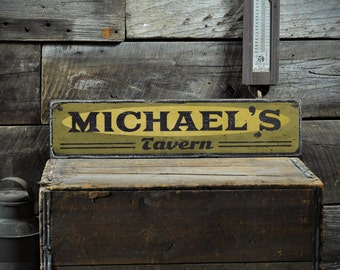 Tavern Sign, Pub Sign, Wooden Bar Sign, Home Bar Sign, Bar Sign For Home, Man Cave Sign - Rustic Hand Made Vintage Personalized ENS1001183