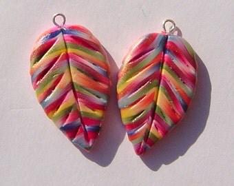 Vibrant Colors Leaf Charms Handmade Artisan Polymer Clay Pair