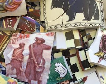 Mosaic Tiles Mix Broken Plate Art Hand Cut Pieces Supply Random Art Mix Faces Retro 250