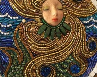 Sea Queen beaded mosaic art