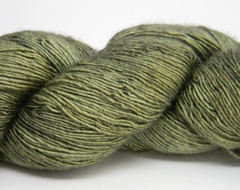 Old Money on Superwash Merino Wool and Silk Blend High Twist Single Fingering Yarn Kettle Dyed Hand Painted Green