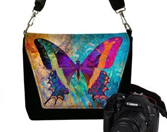 Camera Case DSLR Camera Bag Purse Boho Butterfly  Messenger Bags for Women, Nikon Camera Bag Canon,  Art Nouveau, blue purple orange   RTS