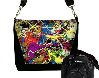 Camera Case DSLR Camera Bag Purse Messenger Bags for Women Nikon Camera Bag Canon Paint Splatter Jackson Pollock red  blue purple yellow RTS