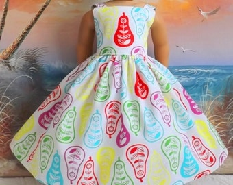 "Doll Dress for 18"" Inch Dolls Bright Pear Petals Sundress Long Length VERY Fully Gathered"