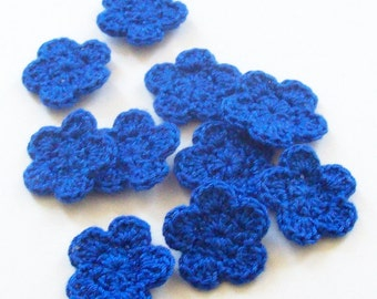 Mini Crochet Flower Appliques, Flower Embellishment, Blue Crochet Flower, Set of 10, Scrapbooking, Miniature Flower, Crochet Flower Motif