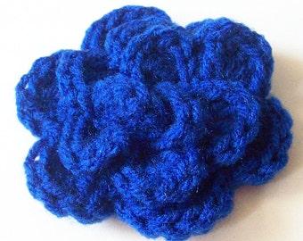 Layered Flower Crochet Applique,Blue Crochet Flower Embellishment, Three Layered Crochet Flower, Crochet Flower Motif