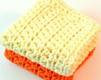 Crochet Cotton Dishcloths, Yellow Dishcloth, Orange Dishcloth, Cotton Dishcloth, Cleaning Cloth, Ecofriendly, Reusable