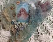 Embellished lavender filled felted sea theme brooch