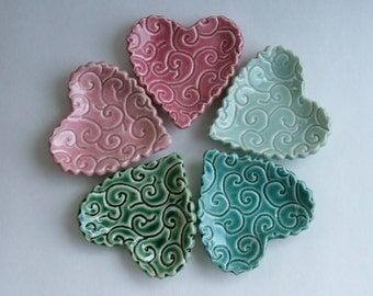 "Set of Five, Ring Dish / Jewelry Dish, wedding favors Ceramic Heart Dishes, 3 1/4"", karakusa pattern, Hand Built"