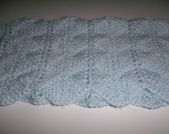 Blanket - Doll Blanket -  Blue Blanket -  Hand Knit -  Small  Blue  Doll Blanket- Afghan - Throw - Doll Accessories