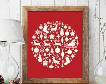 Christmas PRINTABLE ART, Merry Christmas Printable, Winter Decor, Holiday Decor, Christmas Print, Wreath, Christmas Printable, Ornament 231