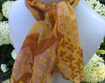 Vintage Geometric Chiffon neck Scarf Browns and yellows