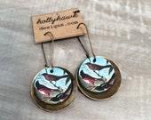 Leather & Antique Brass Earrings, Audubon Birds Digital Photo Print on 100% Genuine Leather