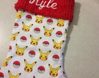 Pokemon Pikachu and Chenille Handmade Christmas Stocking with FREE US SHIPPING