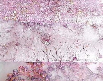 Pink sequinned embroidered net fabrics,  see listing for sizes