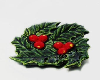 Green Winter Holly Ceramic Tea Bag Holder Small Spoon Rest, Christmas Decor, Kitchen Dining Tableware Accent Holiday, Desk Assessory