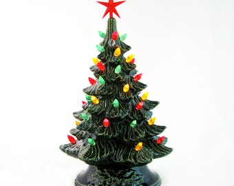 Southwestern Fiesta Style Ceramic Christmas Tree with Red Green Yellow Chili Pepper Color Lights 11 1/2 Inch Tall - Made to Order