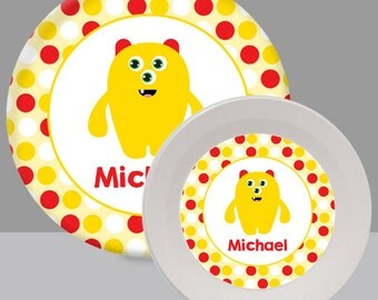 Child's Plate - Monster Plate - Yellow Monster Melamine Bowl or Plate Custom Personalized with Childs Name