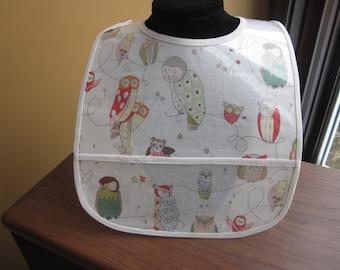WATERPROOF BIB Wipeable Plastic Coated Baby to Toddler Bib Oriental Owls