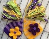 TWiN Newborn Girl FLoWeR Hats Knit BaBY PHoTO PRoP Big Tassel Stripe Stocking Cap RTS Purple Yellow Mauve Lime CoMiNG HoME Pixie Beanie GiFT