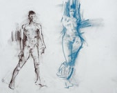 Original Figure Sketch - 18x24 Female and Male Nude Conte and Pastel Drawing by David Lloyd