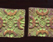 Lot of 4  Polymer  clay Textured  Undrilled  Cabs or Tiles Green, Plum TLSG 4