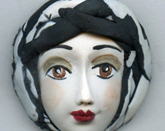 OOAK Polymer Clay Art Doll  Face Cab White  with Brown eyes. Undrilled BWF 3