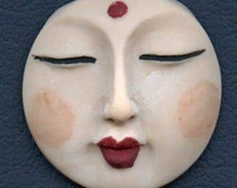 Polymer OOAK Buddha Face  Cab Round, Detailed Fleshtone  BDNT 1