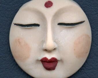 Polymer OOAK THIN Buddha Face  Cab Round, Detailed Fleshtone  BDNT 1