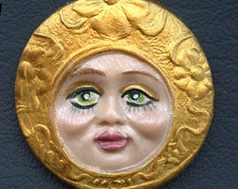 """Polymer Clay Detailed Green Eyed Golden  Face Cab 1 1/2""""  X 1 1/2""""  GRM 1"""