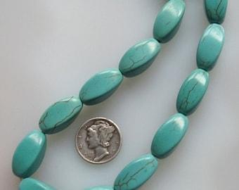 Turquoise Twist Chunky Beads 11x18mm, Half Strand