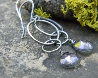 blue mystic quartz dangle earrings - oxidized silver dangles
