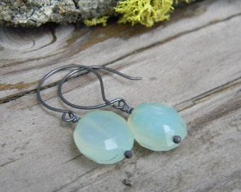 SALE - luminous aqua chalcedony nugget earrings - oxidized silver