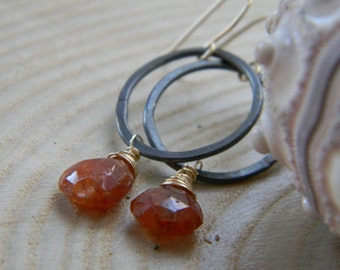 Blackened silver organic ovals with gold filled wire wrapped copper rutile - dangle earrings
