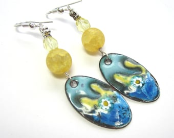 Blue and Yellow Enamel Earrings, OOAK Blue and Yellow Earrings, Blue and Yellow Artisan Earrings, under 50.