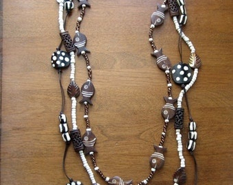 25% SALE Tribal Necklace Set, African Horn Beads,  Mother of Pearl, Tribal Jewelry, Ethnic Jewelry,