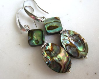 Abalone Earrings, Paua Shell Earrings, Irridescent, Silver, Under 25, Gifts for Her, Shell Earrings.