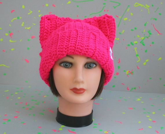 Neon pink cat hat by darkhumorgirl on etsy