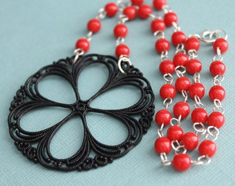 Sofia Necklace - Vintage Lucite - Glass Beads - Sterling Silver - Black & Red