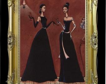 Elegant Women Art Print, Black Gown Fashion Illustration, Beautiful Home Decor, Chic Woman Art, Gift for Her, Wall Hanging Art, SHANO