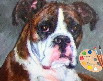 Custom Boxer Dog Portrait - Pet Portraits - Custom Boxer Dog Portrait - Boxer Painting - From Your Photos -Dog Portraits by NC