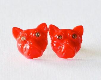Devil Bulldog Vintage Glass Studs, Vintage Glass Dog Posts, Pet Jewelry, Dog Lover Earrings
