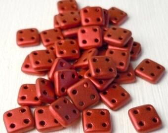 60% OFF SALE 100 gram Factory Pack CzechMates QuadraTile Bead 6mm Matte Metallic Lava