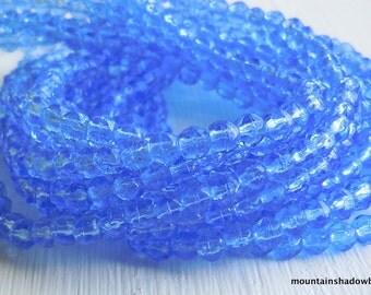 3mm English Cut Beads - Sapphire - Czech Glass Beads - 50 pcs (SP - 35)