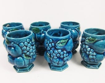 Vintage Inarco Cups Mood Indigo Set of 6 Vintage 60s 70s Japan Ceramic